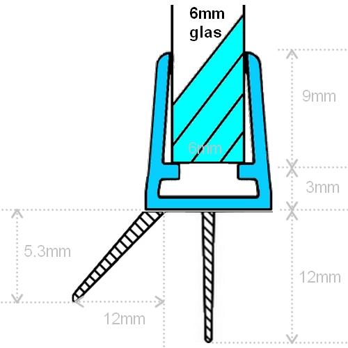 Maattekining Exa-Lent Universal DS011006 - G06021100 helder doucheprofiel 2 flapjes 100cm - 6mm
