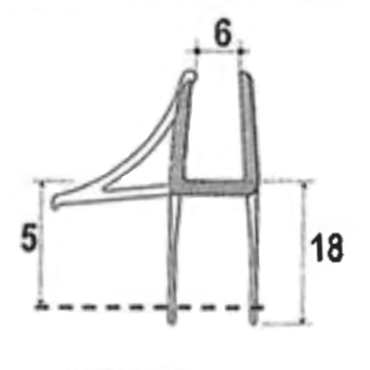 San4U ProfileDay monsterstukje doucherubber type DS60 - 2cm lengte en geschikt voor glasdikte 6mm - 3 flapjes